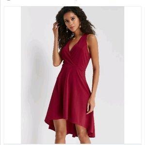 Deep V Neck Red Dress Size Lg